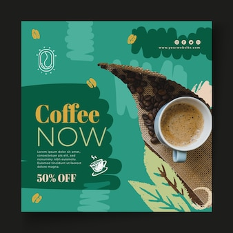 Coffee now square flyer template