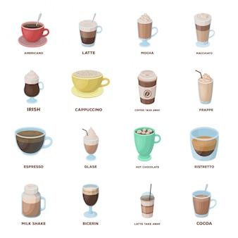 Кофе напитка мультфильм установить значок. изолированные мультфильм набор кафе и ресторан. кофе напитка.