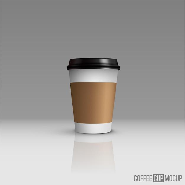 灰色の背景に分離されたコーヒーまたはティーカップのモックアップ