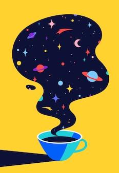 커피 또는 차. 우주 꿈, 행성, 별, 우주와 함께 커피 또는 차 한잔