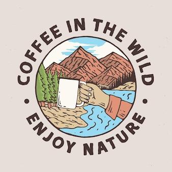 屋外のコーヒー