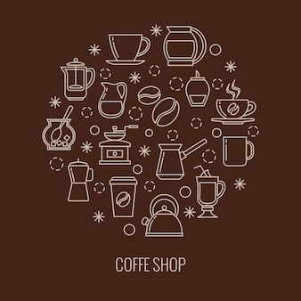 Coffee outline icons in circle design