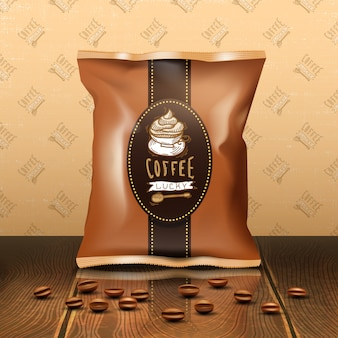 Coffee pack with beans wooden table and wallpaper