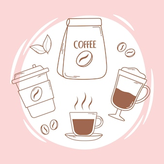 Одноразовая чашка с кофейным пакетом и линия фраппе и иллюстрация заполнения