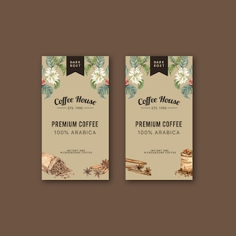 Сумка для упаковки кофе с ветвью листьев бобов, кофеварка, акварель