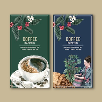 Coffee packaging bag with branch leaves bean, maker machine,watercolor illustration