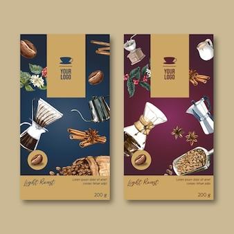 Сумка для упаковки кофе с ветвью листьев фасоли, винтаж, акварель иллюстрация