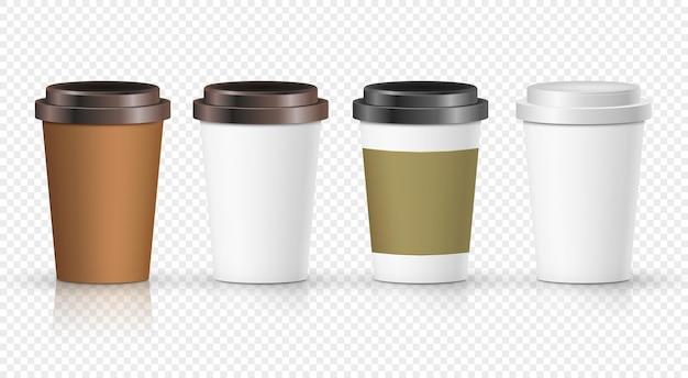 라벨 일러스트와 함께 설정 커피 종이 컵