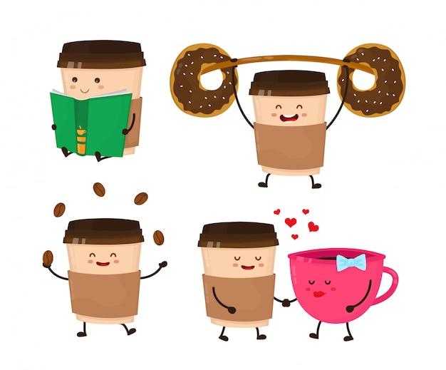 Coffee paper cup vector flat style cartoon fun illustration set.