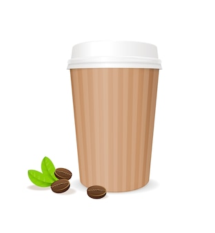 Кофейный бумажный стаканчик с фасолью. контейнер для кофе, изолированные на белом фоне