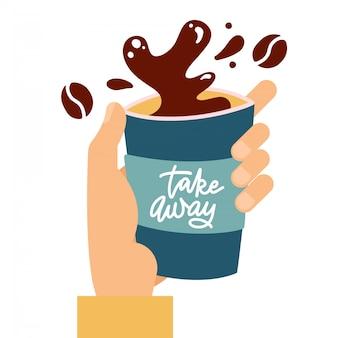 Бумажный стаканчик кофе с каплями и всплеск в мужской руке, всплеск кофе из бумажного стаканчика на белом фоне, плоская иллюстрация с рисованной надписи - забрать