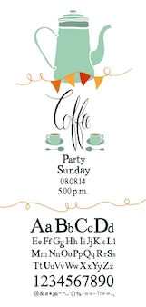 Coffee party invitation with font set