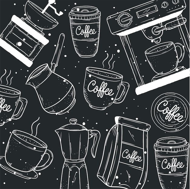 Coffee pattern doodle style icons