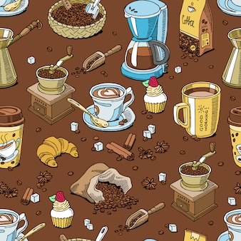 Coffee pattern seamless coffeebeans and coffeecup drink hot espresso or cappuccino in coffeeshop and mug with caffeine in bar illustration background