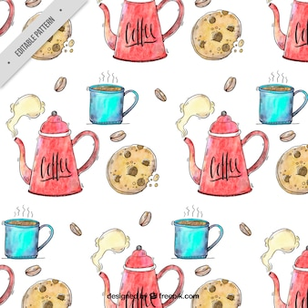 Coffee pattern with cookies