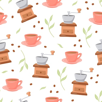 Coffee pattern with various coffee makers and desserts on a white background doodle sketch style
