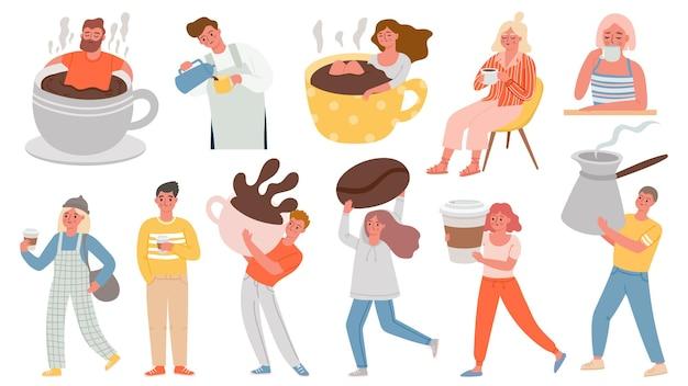 コーヒーの人々。温かい朝の飲み物を持っている男性と女性は、巨大なカップに座って、ジェズヴェを保持します。カフェやホームベクトルセットでコーヒーブレイクのキャラクター。エスプレッソ、コーヒーのイラストの朝食カップを持つ男