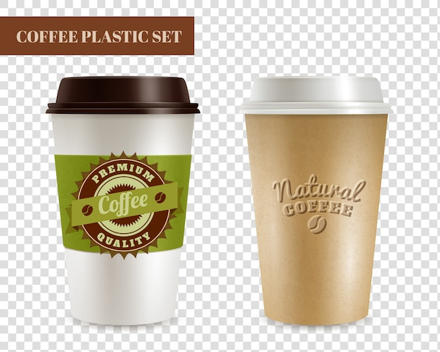 Coffee plastic covers transparent set
