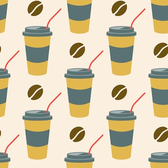 Coffee in a plastic cup with a straw and coffee beans vector seamless pattern in flat style
