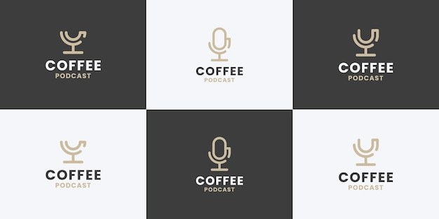 Coffee and podcast combine logo design collection