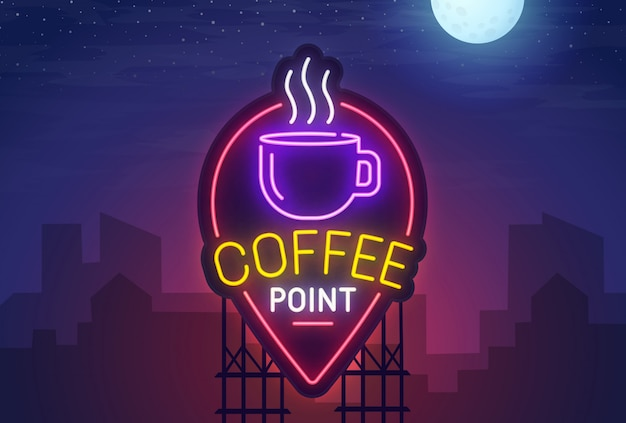 Coffee point neon sign