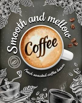 Coffee poster ads with  illustratin latte and woodcut style decorations on chalkboard background