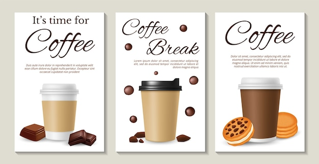 Coffee posters. realistic coffee take away cookies and chocolate