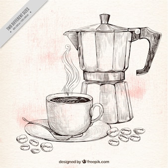 Coffee pot and cup sketch background