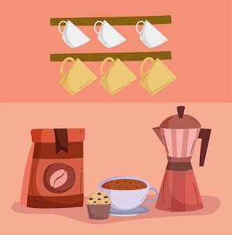 커피 포트와 컵