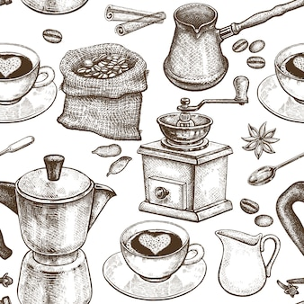 Coffee pot, coffee grinder, coffee cups, donuts