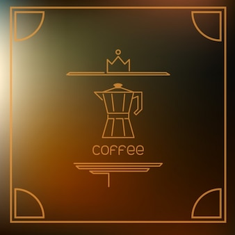 Кофе пиктограммой на коричневом фоне вспышки