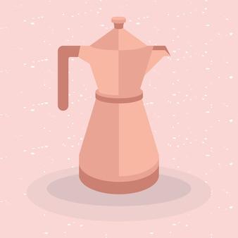 ピンクの背景をテーマにしたコーヒーポット