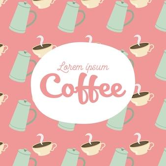 コーヒーポットとカップの背景のテーマ