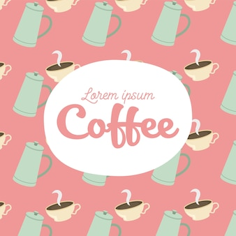 Coffee pots and cups background theme
