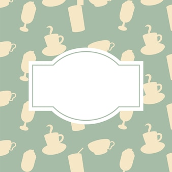 Coffee pots and cups background with space for text theme