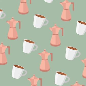 Coffee pots and mugs seamless pattern