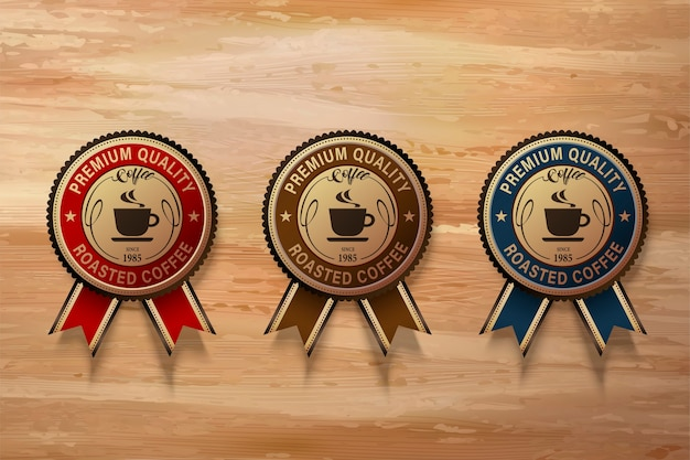 Coffee premium badge set, three different types label in  illustration on wooden table
