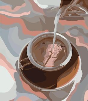 커피 준비 우유 붓는 예술. 벡터 일러스트 레이 션