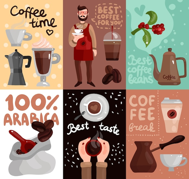 Coffee production cards with advertising of best coffee beans and taste