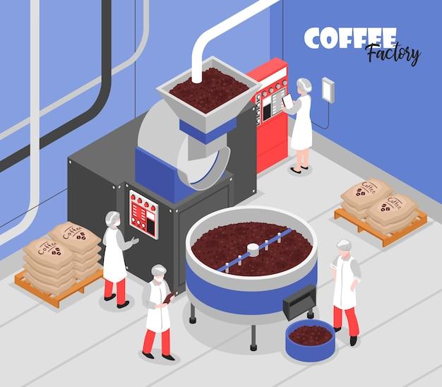 Macchinari speciali di processo di produzione del caffè e operai 3d isometrici