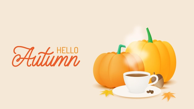 Coffee and pumpkins with autumn leaves background vector illustration