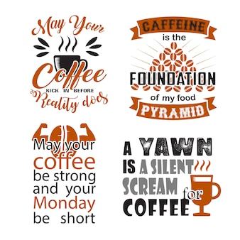 Coffee quote and saying set