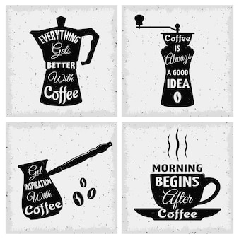 Coffee quotes icon set