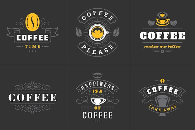 Free Vector Coffee Quotes Icon Set