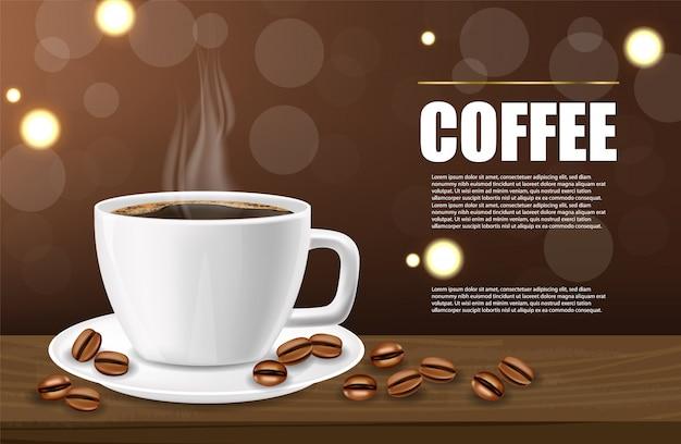 現実的なコーヒー、ブラックコーヒーカップとコーヒー豆、現実的な白いカップ、ホットドリンク Premiumベクター