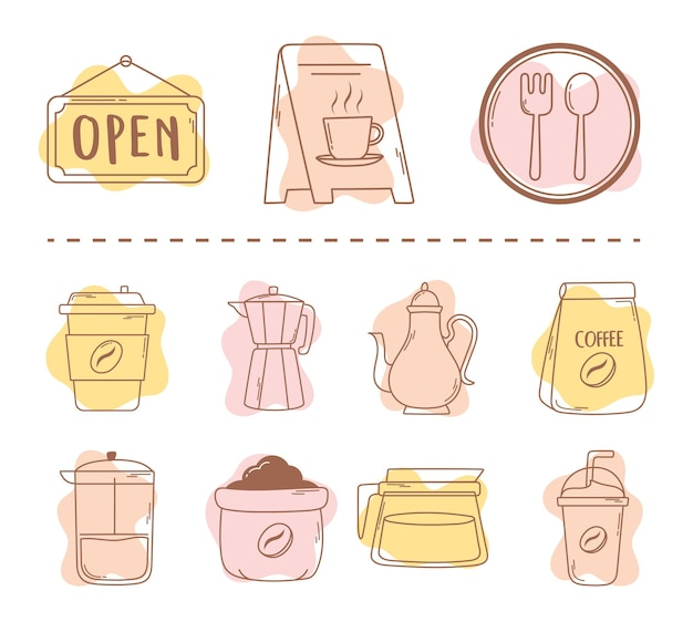 Coffee restaurant package moka pot cups and frappe icon line and fill illustration
