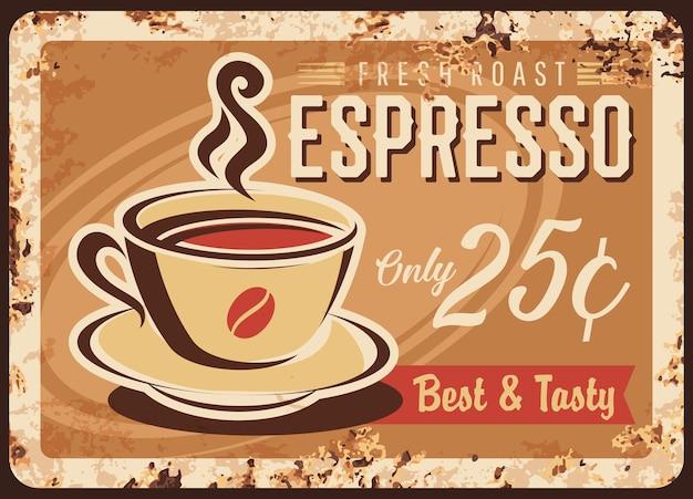 コーヒーレトロプレート最高のエスプレッソコーヒーカップサイン