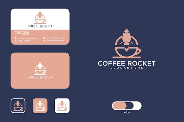 Coffee rocket logo design and business card