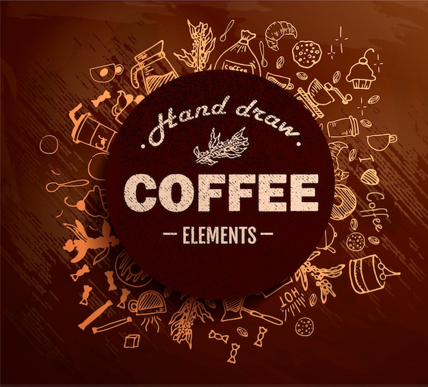 Coffee round in vintage outline hand drawn doodle style with different objects on coffee theme. .