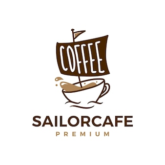 Coffee sailor cafe logo  icon illustration